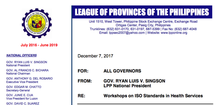 Endorsement by League of Provinces of the Philippines: Memo signed by Gov. Singson